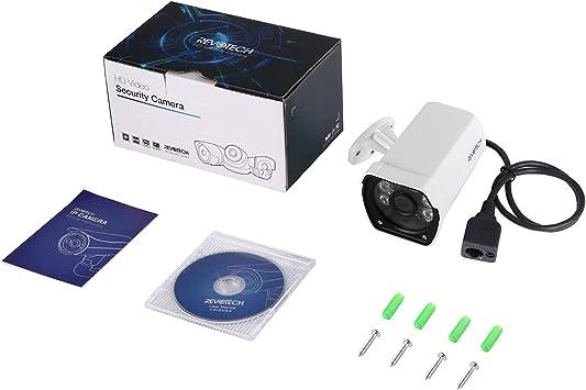 RevoTech H.265 HD Resistente al Agua 1920 x 1080P 2.0MP Para Exteriores 6 Gama LED IP C/ámara de Visi/ón Nocturna C/ámara con Seguridad a toda Prueba ONVIF P2P CCTV C/ámara I6042-16E Blanco