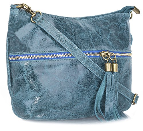 Mia Leather Leather Bag Crossbody Italian Girls Deep C for Small Teal Genuine C8zx77