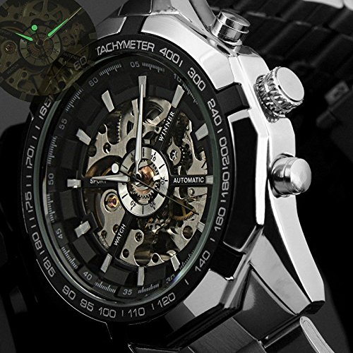 Winner Black Dial Mens Skeleton Stainless Steel Automatic Mechanical Wrist Watch