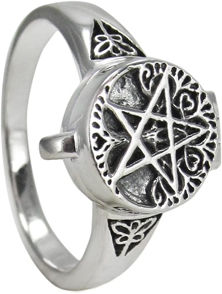 Sizes 5-12 Dryad Design Sterling Silver Tree Pentacle Poison Locket Ring