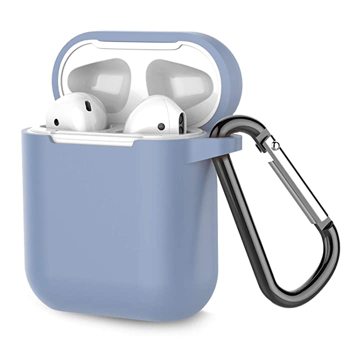 Airpods Case, Coffea AirPods Accessories Shockproof Case Cover Portable & Protective Silicone Skin Cover Case for Airpods 2 & 1 (Front LED Not Visible) - Grayish Blue