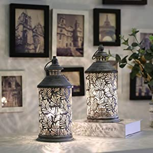 """JHY DESIGN Set of 2 Metal Table Lamp Battery Powered 10.5"""" Tall Cordless Lamps Vintage Bedside Lamps with Edison Bulb for Living Room Bedroom Weddings Garden Hallways Indoor Outdoor(Phoenix Tail)"""