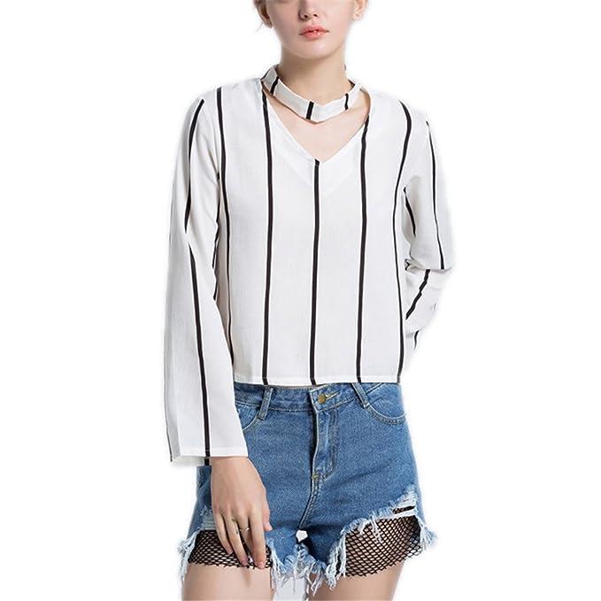 Otoño Blusa de Mujer Camisa de Moda Casual Gargantilla con Cuello en V Blusa Recortada Blanca
