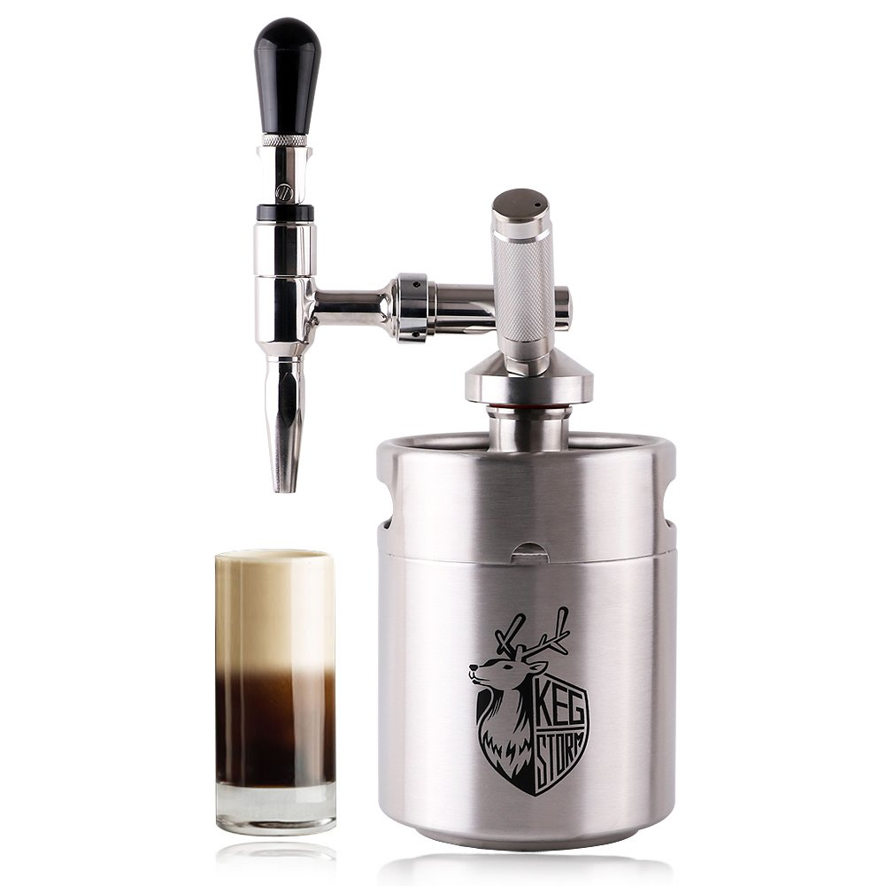 KEG STORM Nitro Cold Brew Coffee Maker 64 Ounce Mini Stainless Steel Keg Home brew coffee System Kit Best Choice of Diy Coffee Lovers