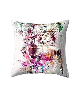 BLagenertJ 45x45cm Breathable Linen Bird Branch Print Square Pillow Case Cushion Cover Home Sofa Car Bed Office Decor (17#)