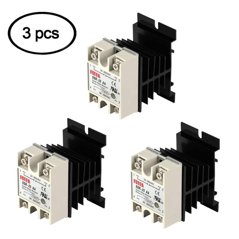 Ssr Solid State Relay With Heat Sink 3pcs 25aa Theory Heatsink Input 80 280vac Output 24 380vac Machinery Control By Beauty Star