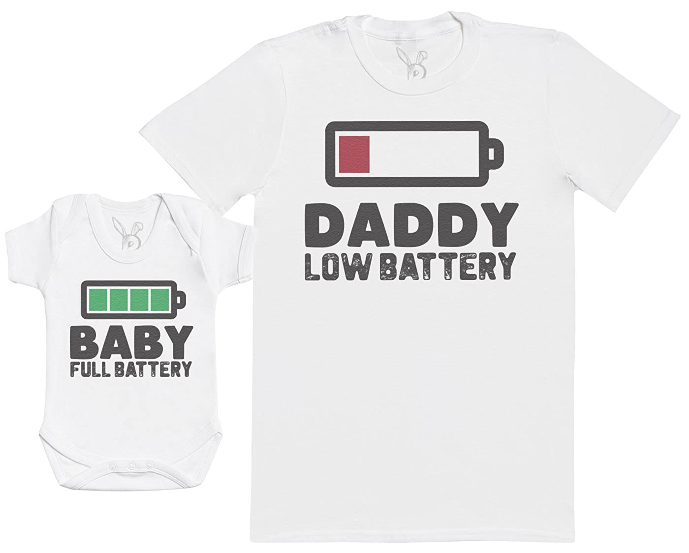 Hommes T-Shirt /& Body b/éb/é Baby Full Battery Ensemble P/ère B/éb/é Cadeau