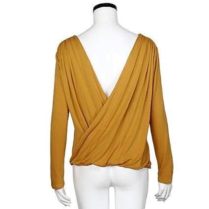 Tongshi Sin espalda moda mujer Casual manga larga encaje camisa blusa T (EU 36 (Asia M), Amarillo): Amazon.es: Ropa y accesorios