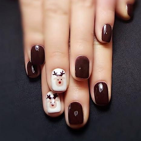 jovono Full False Nail Tips Uñas Postizas con milu ciervos patrón para las mujeres y las