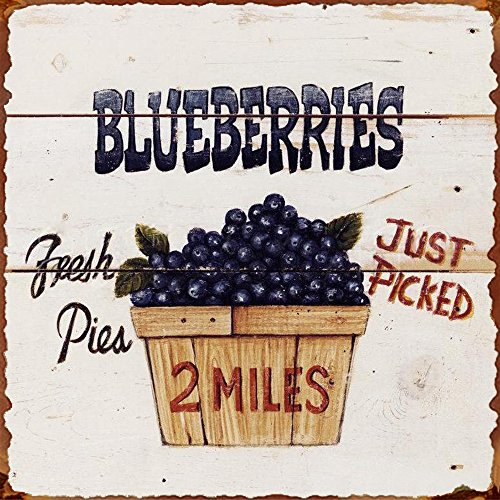 Barnyard Wall - Barnyard Designs Fresh Picked Blueberries Retro Vintage Tin Bar Sign Country Home Decor 11