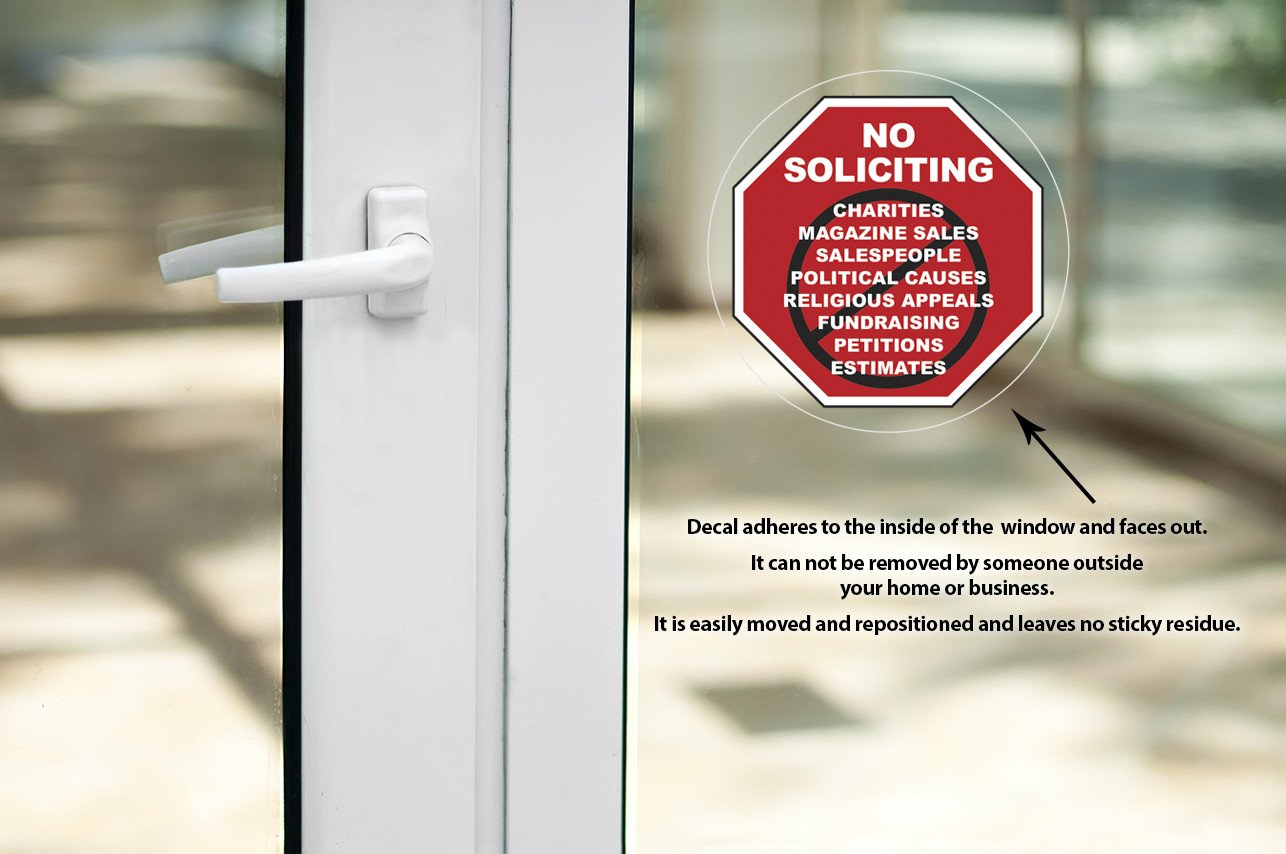 No Soliciting Sign Static Window Cling Decal For Home