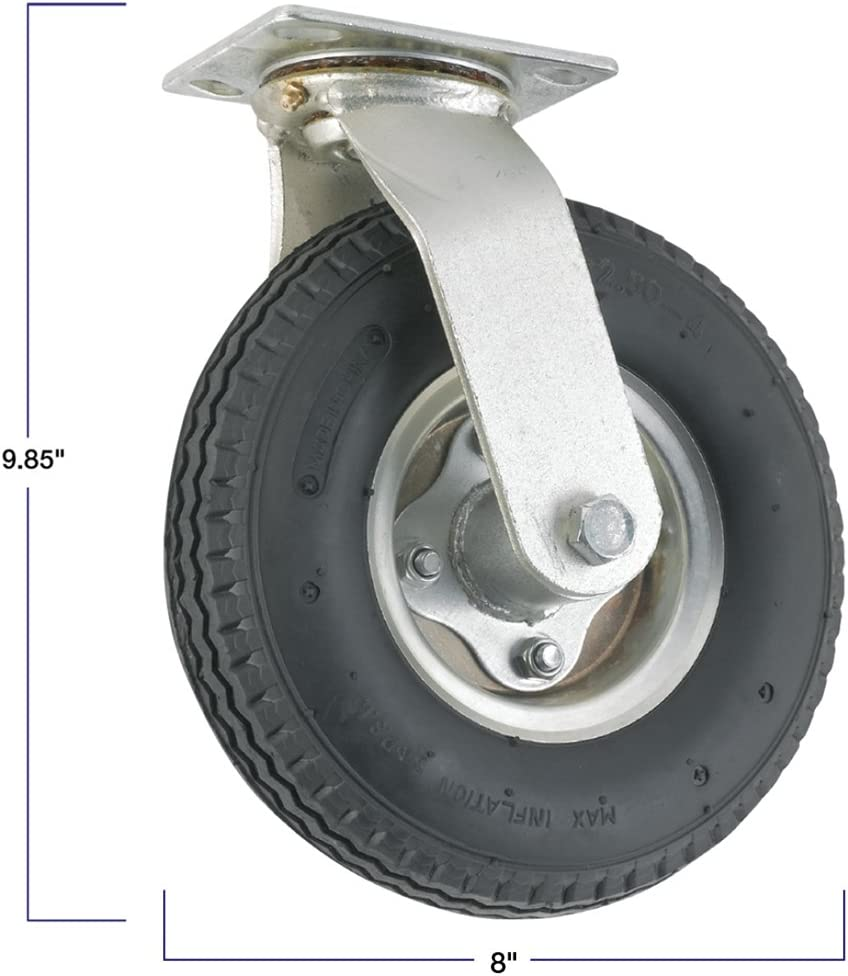 Pneumatic Caster Wheel with Swiveling Top Plate 310 lb Load Capacity Air-Filled Wheel Provides a Cushioned Ride /& Shock Absorption Best Suited for Outdoor Use 8-Inch