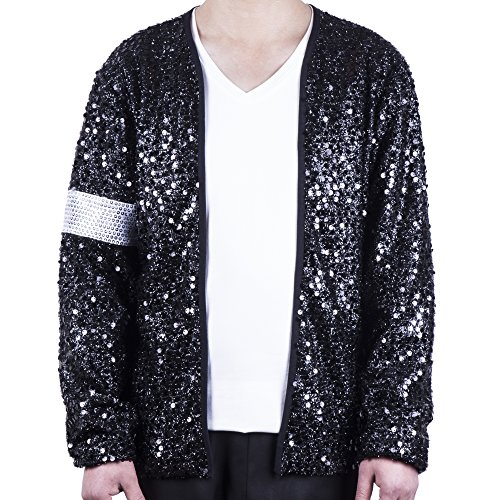 MJB2C - Michael Jackson Costume Billie Jean Armband Sequin Jacket Child/Adult (Adult X-Small) Black