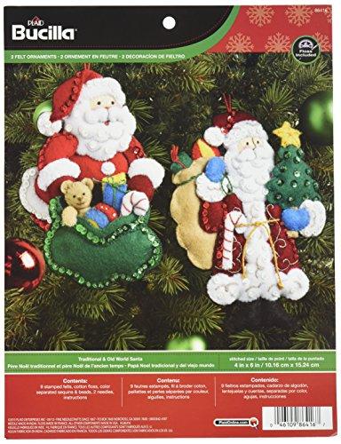 Bucilla Felt Applique Ornament Kit, 4 by 6-Inch, 86416 Traditional & Old World Santa (Set of 2)