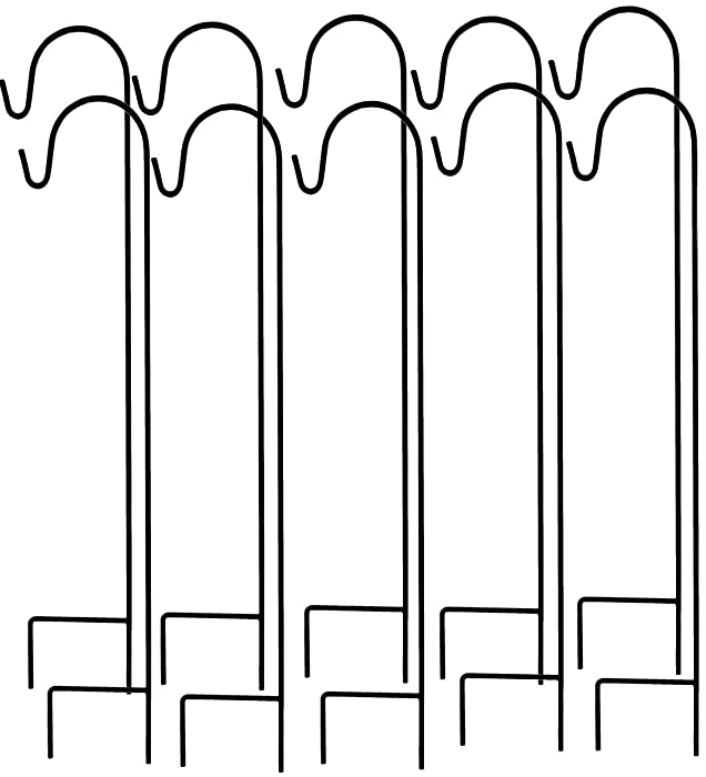 Ashman Shepherds Hook 10 Pack Black, 35 Inches Tall, Made of Premium Metal for Hanging Solar Light, Bird Feeders, Mason Jars, Garden Stake and Wedding Decor