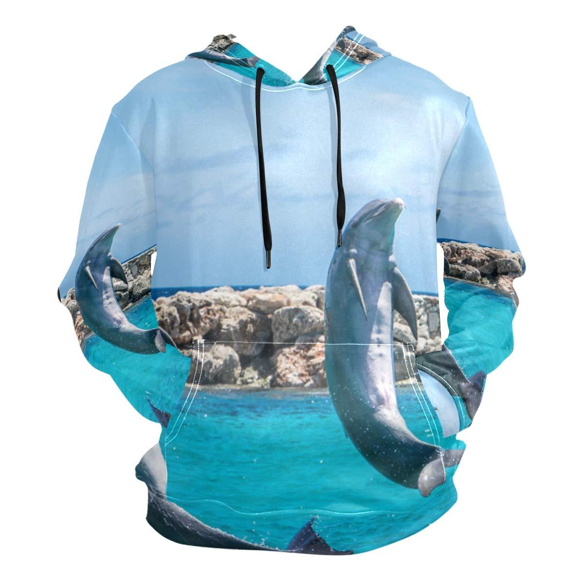 LORVIES Unisex Jumping Dolphin Pullover Hoodie Hooded Sweatshirt