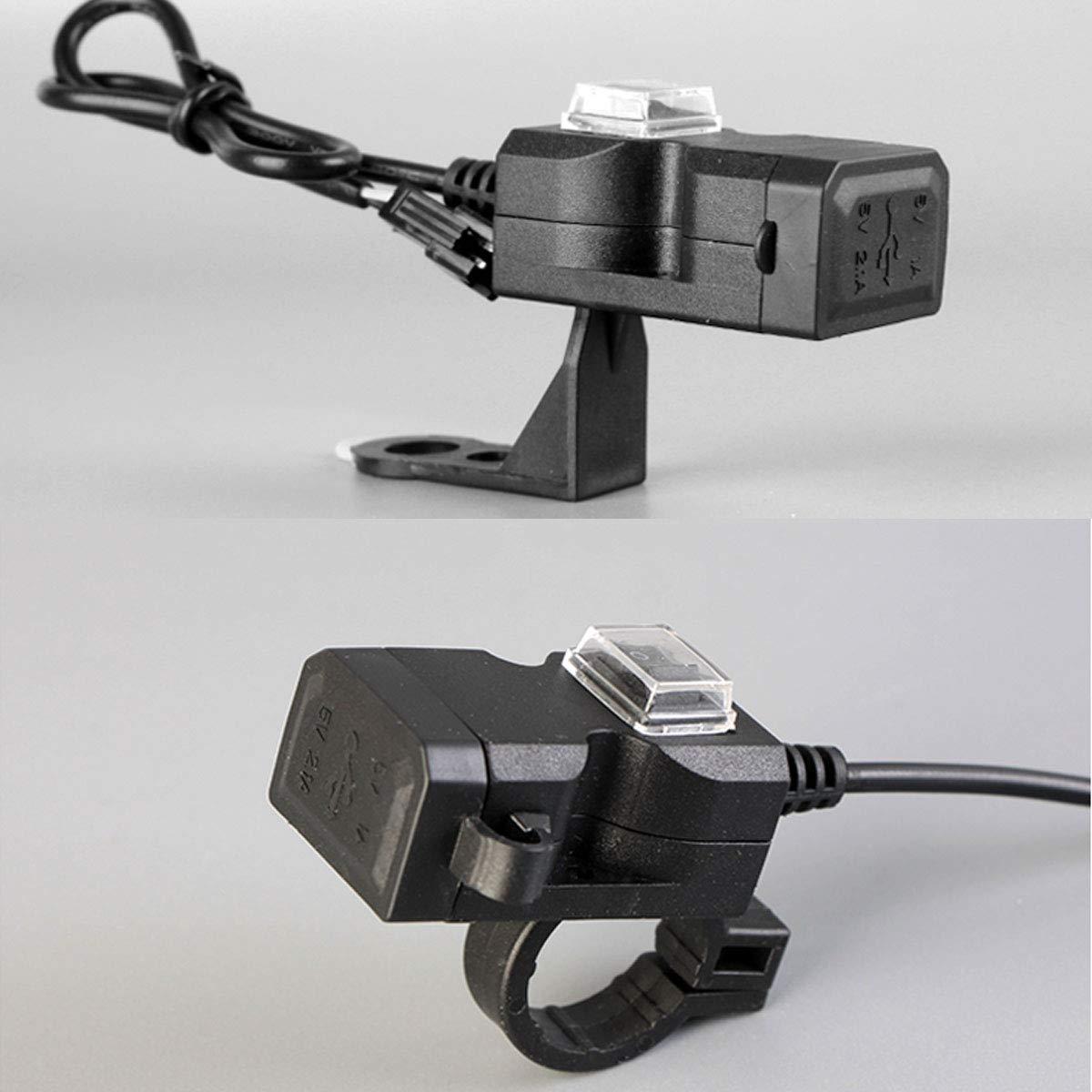JenNiFer Wasserdicht 12V 5V 3.1A Dual USB Charger Motorcycle Ladeadapter Mit On//Off Switch Handbar Mirror Installation