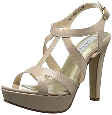 Touch Ups Women's Queenie Synthetic Platform Sandal,Nude Patent,5 ...