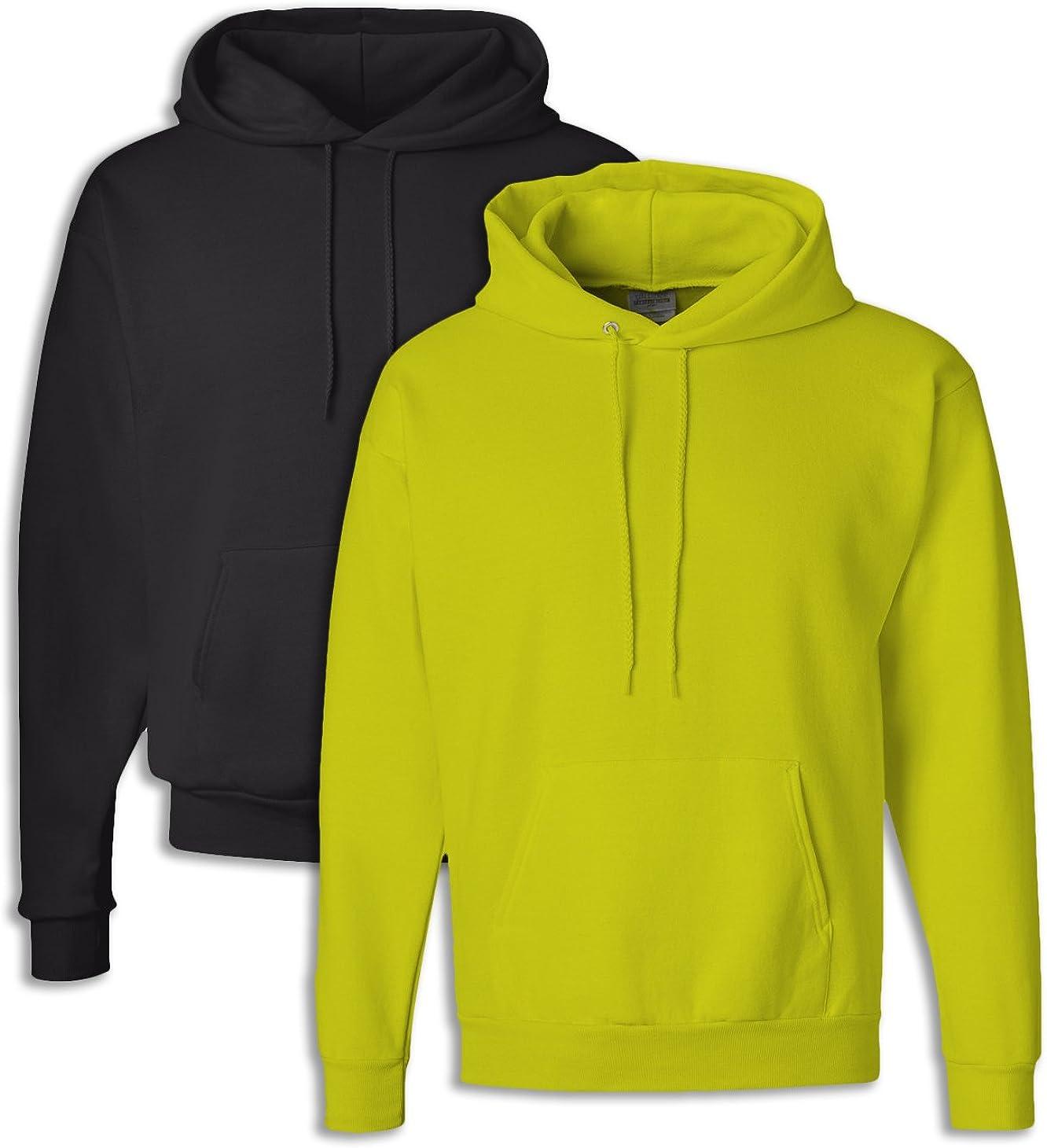 Hanes P170 Mens EcoSmart Hooded Sweatshirt 2XL 1 Black 1 Safety Green