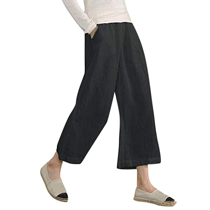 UK Casual Womens Pure High Waist Pleated Pants Wide Leg Palazzo Elastic Trouser