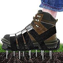 Gyffsso Zapatos de aireador para césped, para airear su césped o Patio Sandalias con Punta de Alta Resistencia,Black