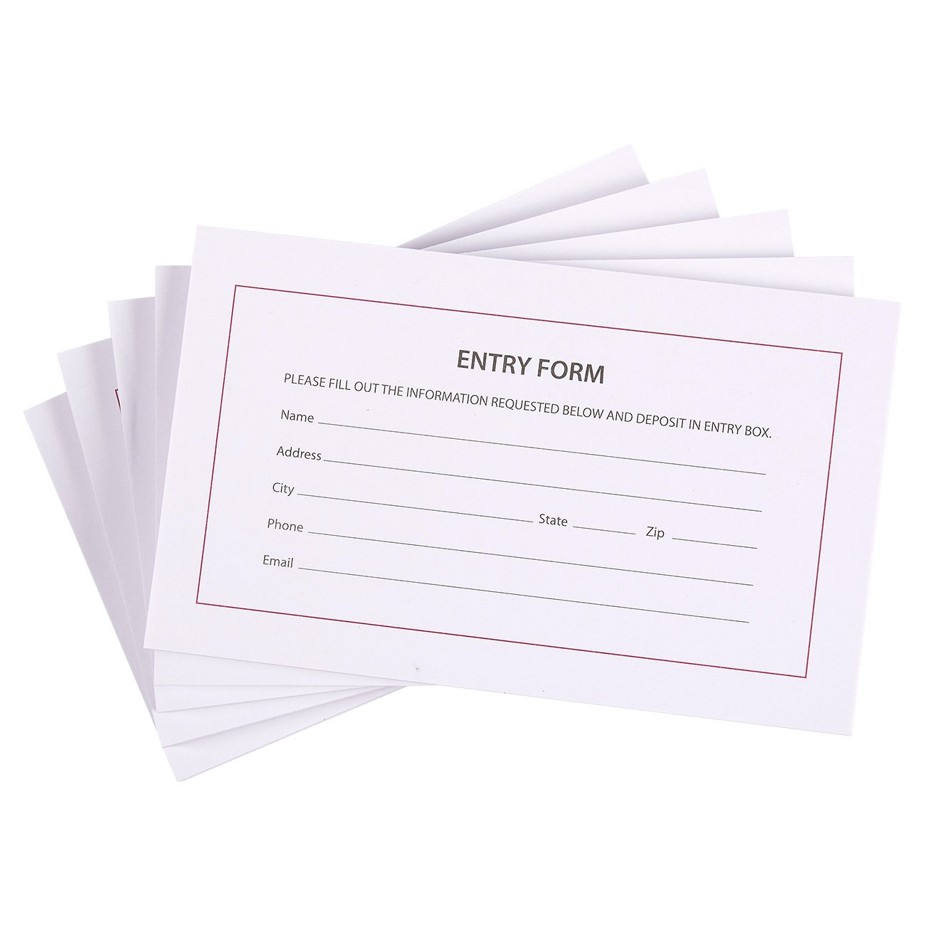500 Entry Forms - 5 Pads with 100 Sheets Per Pad - Entry Cards for Contests, Raffles, Ballots, Drawings, 6.2 x 3.7 Inches