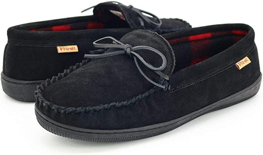 MENS WARM LINED SLIP ON WINTER MOCCASIN SLIPPERS FAUX SUEDE INDOOR LOAFERS SHOES