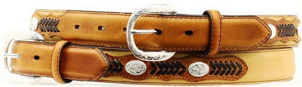 Nocona Boy's Arrow Lacing Oval Conchos Belt, Medium Brown Distressed, 28