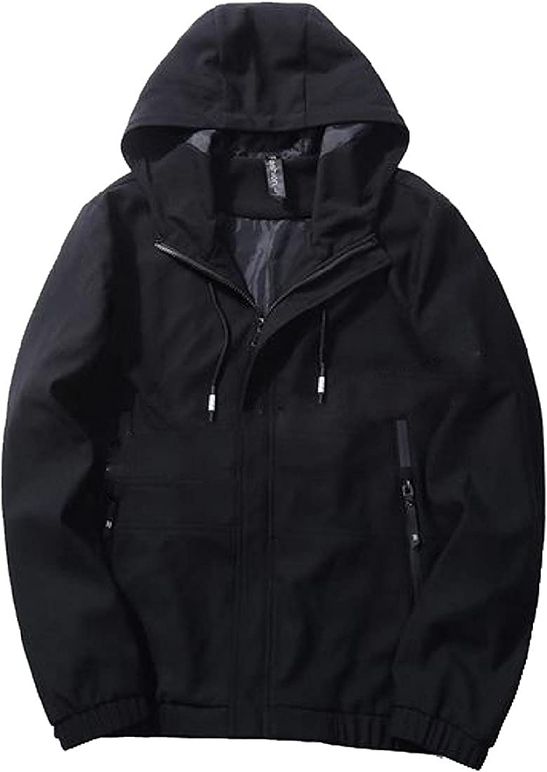 Winwinus Mens Casual Fall Winter Washed Hooded Outerwear Coat Jacket