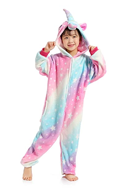 743890bc2d Amazon.com  Kids Unicorn Onesie Pajamas Costume for Halloween Cosplay   Clothing