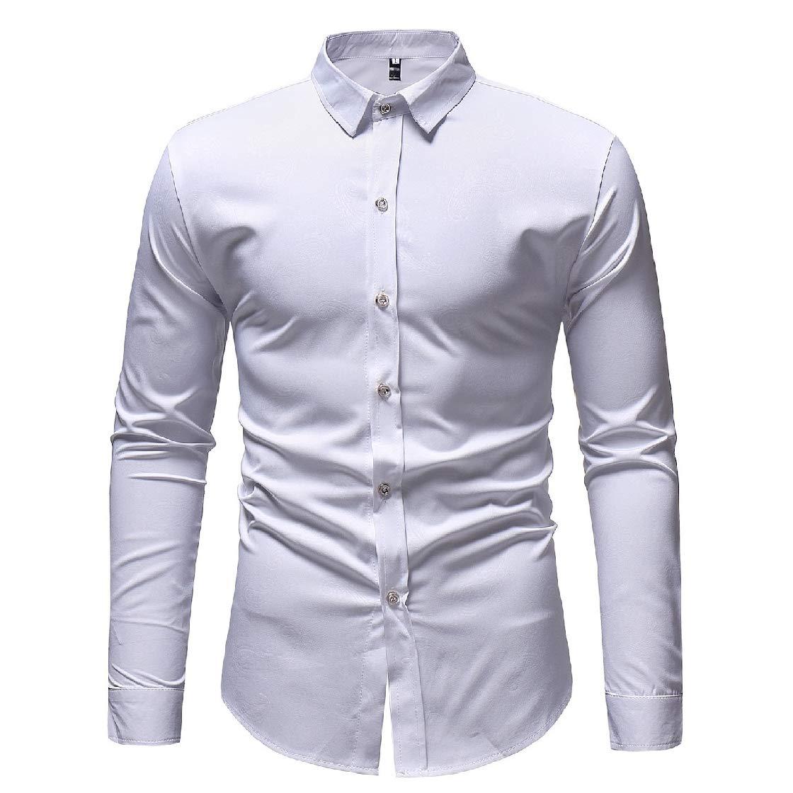 YUNY Men Turn Down Collar Dark Floral Casual Long Sleeve Cardigan Shirt White M
