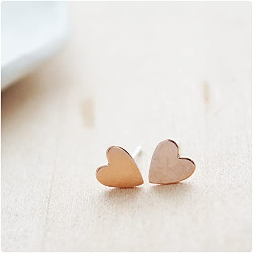 Amazon Rose Gold Filled Heart Earrings Studs For Women Girls Gifts Under 20 Dollars Girlfriend Birthday Ideas Handmade