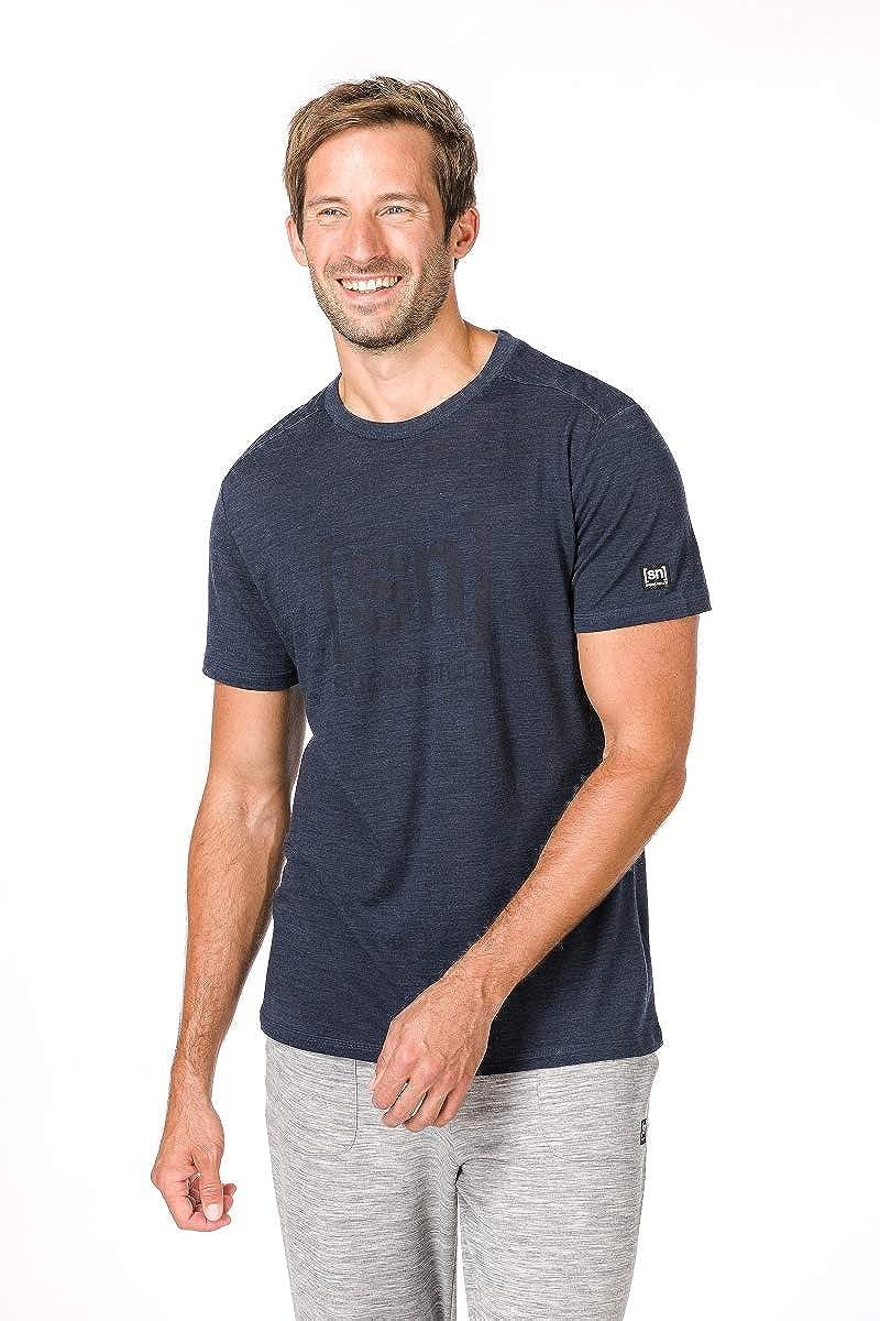 Mit Merinowolle super.natural Bedrucktes Herren Kurzarm Shirt M ESSENTIAL I.D TEE