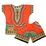 DecoraApparel Kids Dashiki Suit 2 to 5 years old Set Boys & Girls Shirt with Short One Size ( Orange )