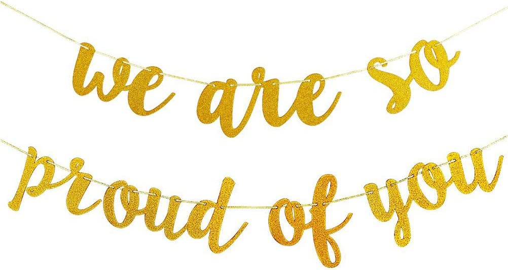 Graduation Party Pull Flag Golden Flags We are So Proud of You Letter Banner Party Decorations