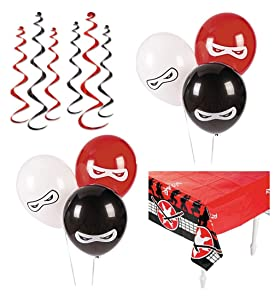 Ninja Birthday Party Supplies - Ninja Party Decorations Including: Ninja Table Cover, Hanging Swirls & Ninja Balloons