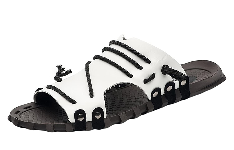 Insun Zapatilla de Cuero Para Hombre Sandalias de Playa 46 EU|Blanco