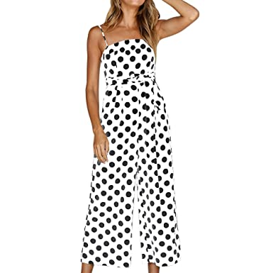 eee4a27b6b56 Ducarsel Women Sexy Spaghetti Strap High Waisted Jumpsuit Polka Dot Wide Leg  Long Pants Palazzo Rompers