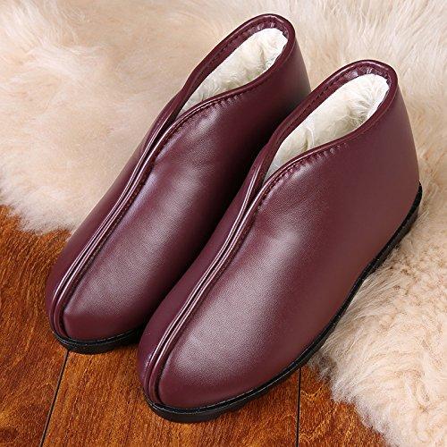 Pantoufles De Coton Fankou Hiver Hiver Pantoufles Coton Anti-dérapant Racine Chaussures En Cuir Pour Les Femmes Âgées Et Les Hommes Chaussures D'intérieur, 42, Vin Rouge