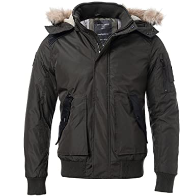 d913c382af4 FLY HAWK Men's Casual Warm Arctic Cloth Anorak Coat With Removable Faux Fur-Trimmed  Hood