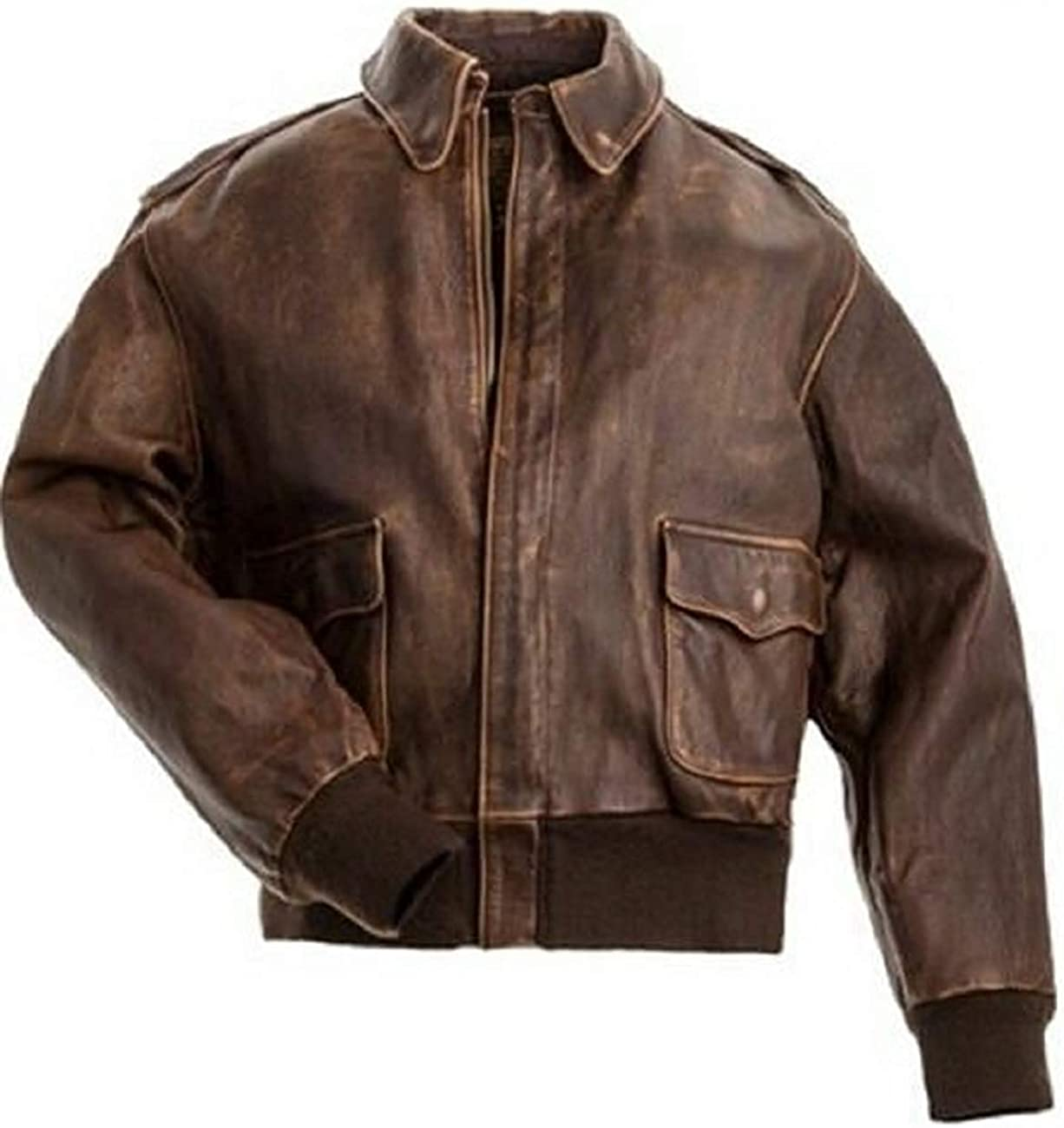 Men/'s Aviator A2 Distressed Brown Style Bomber Vintage Flight Leather Jacket