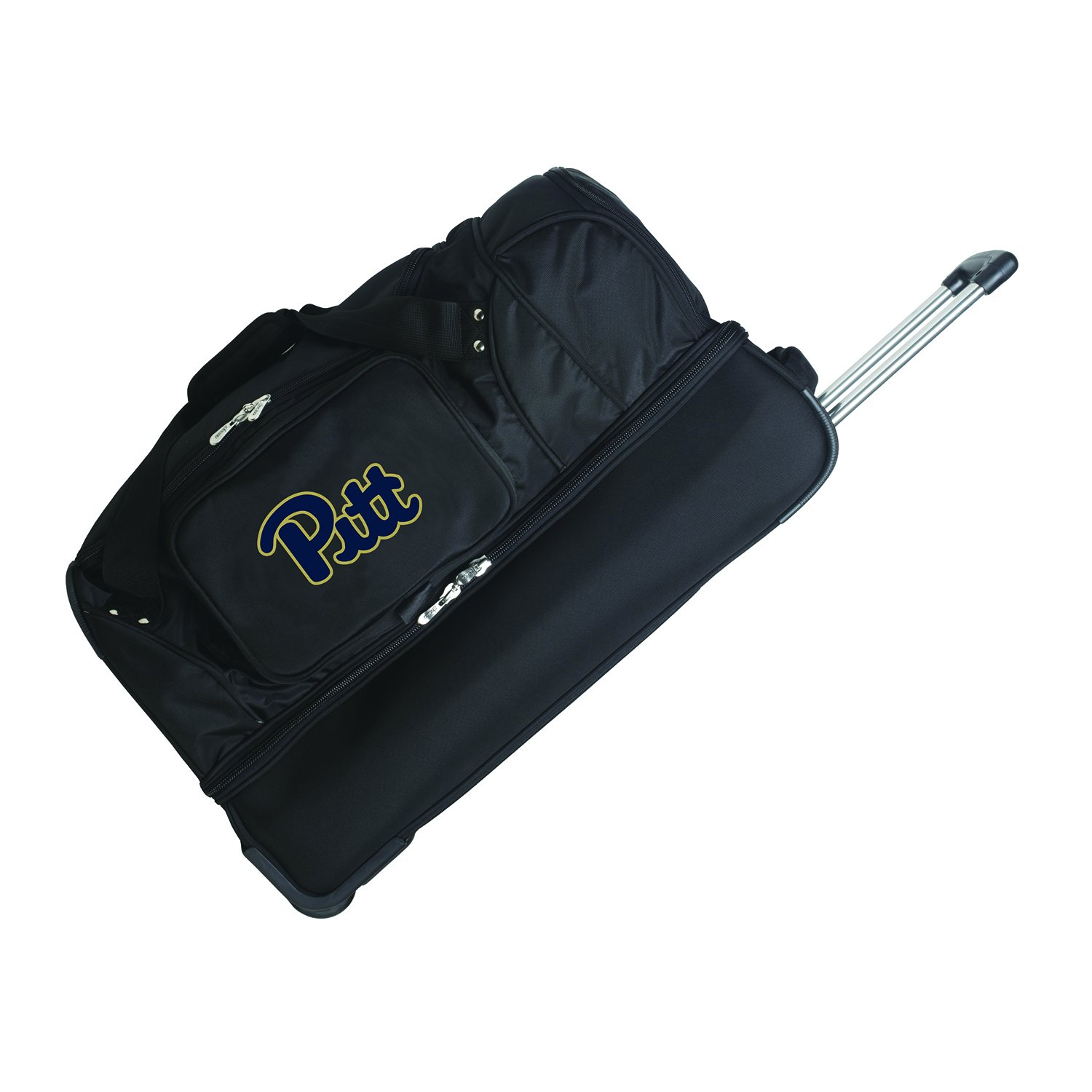 NCAA Pittsburgh Panthers Rolling Drop-Bottom Duffel Bag, 27 x 16 x 14, Black Concept One Accessories CLPIL300