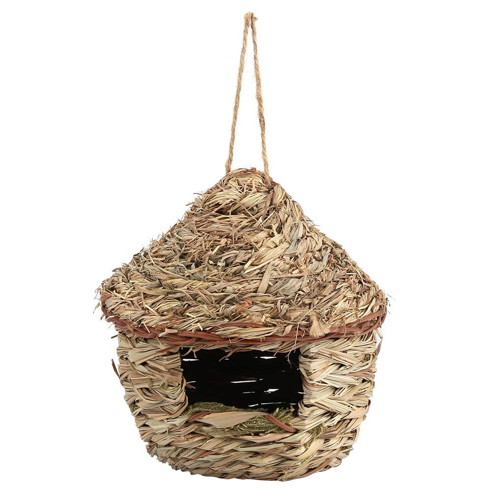 Yuehuam Bird Nest,Woven Straw Bird Cage Hatching House Parrot Nesting Hanging Breeding Cave Hut for Parakeet Hamster Gerbil Chinchillas Small Pets (Color : L)