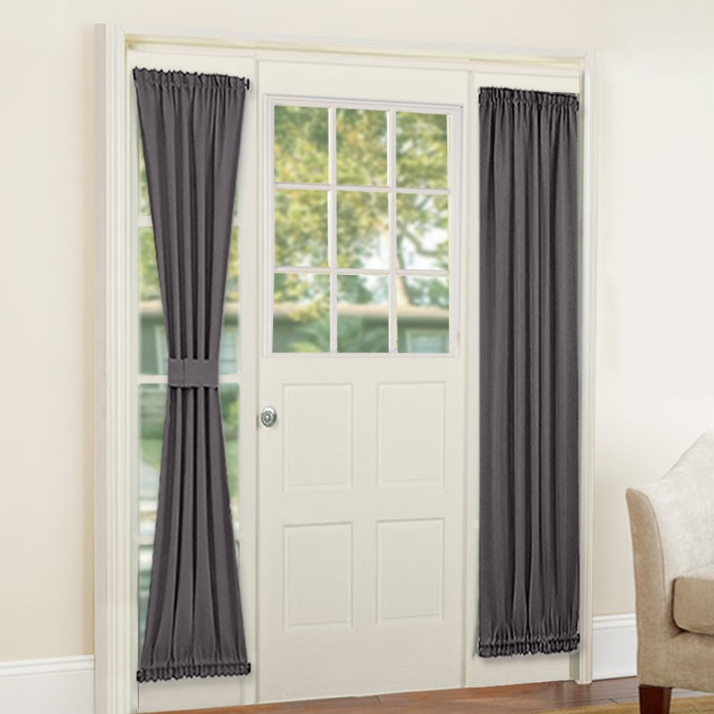 PONY DANCE French Door Curtain - Grey Blackout Drape Energy Saving Thermal Insulated Window Drapery/Front Door Panel Including Bonus Ajustable Tieback, 25 by 72 inch, 1 PC