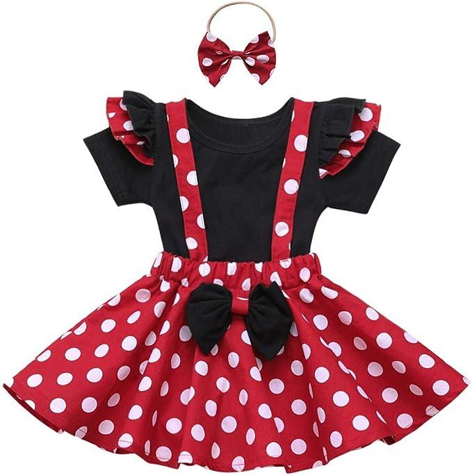 FYMNSI Baby M/ädchen Gepunktet Kleid S/äugling Strampler Body Tr/ägerrock Stirnband Outfit Prinzessin Geburtstag Partykleid Festliches Bekleidungsset