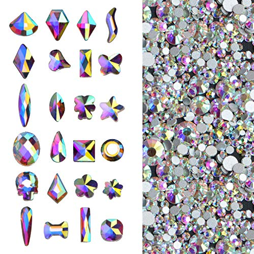 2000Pcs AB Crystal Rhinestones Set (1760pcs+240pcs), Round & Multi-Shape AB Glass Rhinestone, Flatback AB Crystals for Nails, Clothes, Face, Jewelry | Aurora Borealis