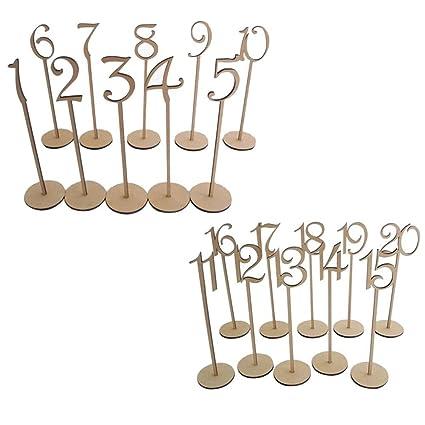 Pixnor Número de madera de mesa de boda palos con Base 8.7 x 35cm 1-20