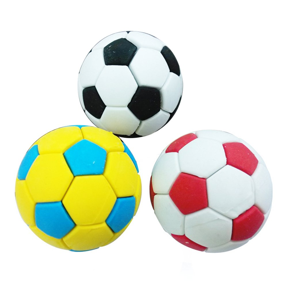 Random Color 3Pcs Football Soccer Rubber Eraser Creative Stationery School Supplies Gift Kids zsjhtc