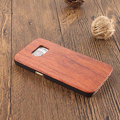 Vandot 1X Madera Shell Funda Case Cover Samsung Galaxy S6 Edge SM-G925 Caso Brújula Compass Híbrido Retro Madera Cubierta Caja de Bambú Premium Trasera Dura de la Contraportada del Patrón Tallado Lujo Mu+PC 03