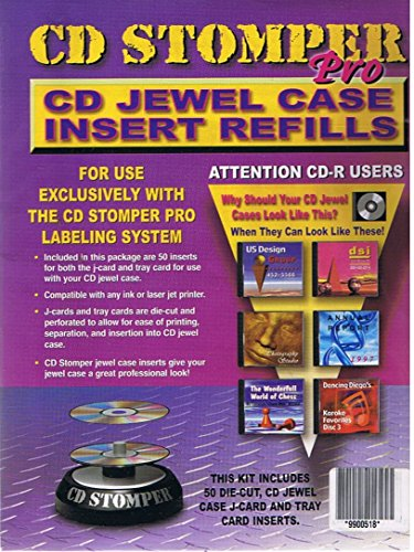 CD Stomper Pro: CD Jewel Case Insert Refills (50 Inserts for Both the J-Card and Tray Card / Ink or Laser Printer Compatible / FOR USE EXLUSIVELY WITH THE CD STOMPER PRO LABELING SYSTEM)